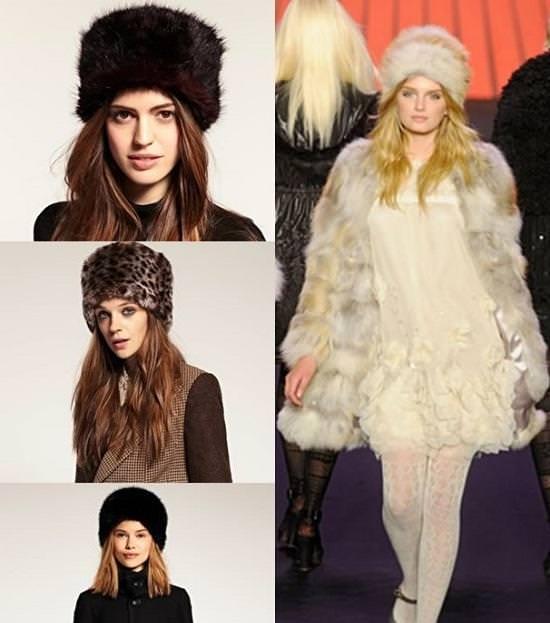 Модные женские меховые шапки 2014