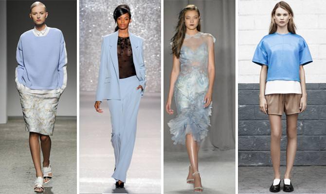 Модные платья пастельного цвета в синем оттенке