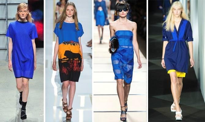 Платья насыщенно синего цвета. Фото из коллекций весна-лето 2014