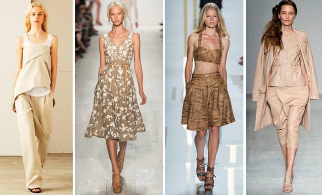 коллекций одежды весна-лето 2014 в бежевом цвете