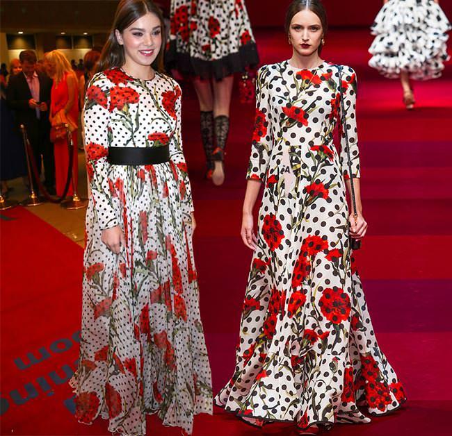 celebrities_wearing_spring_2015_runway_clothes_Hailee_Steinfeld_in_Dolce_Gabbana