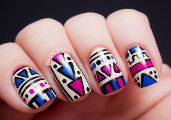 wpid-Tribal-concept-on-the-application-of-hot-pink-and-black-nail-designs-2014-2015-2