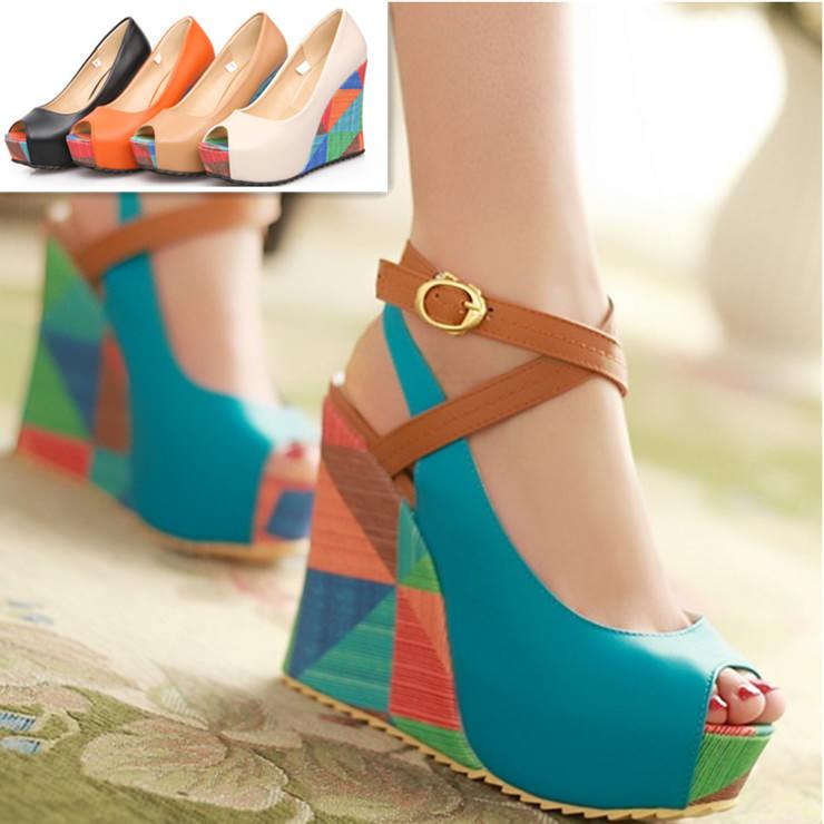 2016-New-Women-Pumps-Fashion-Bohemia-Wedges-Summer-Ladies-Wedding-Shoes-High-Heels-Peep-toe-Women